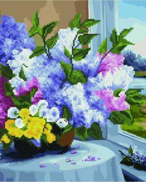 Алмазная картина-раскраска Цветы у окна (Brushme GZS1030)