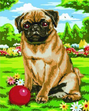 Алмазная картина-раскраска Игра с собакой (Brushme GZS1057)