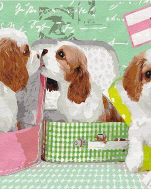 Картина по номерам Милые щеночки в чемоданах (Brushme BS25358)